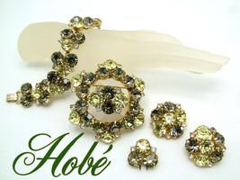 Vintage HOBE Bracelet Brooch Earrings Fur Clip 2 Tone Green Rhinestone 4... - $575.00