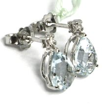 18K WHITE GOLD AQUAMARINE EARRINGS 2.00 CARATS, DROP CUT, DIAMONDS, ITALY MADE image 3