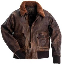 Aviator G-1 Flight Jacket Distressed Brown Real Cowhide Leather Bomber Jacket - $104.99