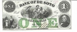 $1 1863 Nebraska Bank of De Soto CU Two Men Indians Green ONE Choice Unc... - $205.87