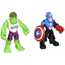 Marvel Playskool Super Hero Adventures Mini Figure 2-Pack Hulk & Captain America - $19.34