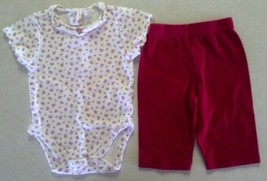 Girl's Size 3-6 M Months Two Piece Outfit Cream Floral TCP Top & Red Pants - $8.00