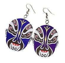 Creative Interesting Earrings Stylish Chinese Make-up in Opera Earrings, Blue