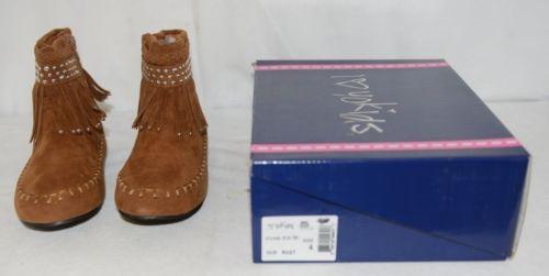 I Love Yo Kids AVA 78K Girls Fringe Boot Rust Silver Studded Size 4