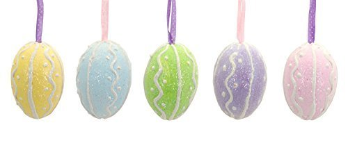 Spring Egg Ornaments Set of Five Confectionery Design Basket Stuffers