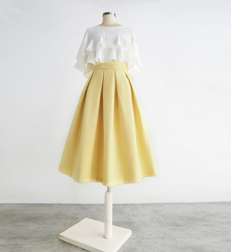 Yellow Wool Midi Skirt Outfit High Waist A-line Winter Midi Party Skirt