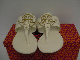 Women's tory burch slippers amanda flat thong tumbled leather bleach siz... - $197.95