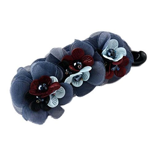[Grey] Flower Ponytail Holder Cloth Hair Barrettes Banana Hair Clips Accessories
