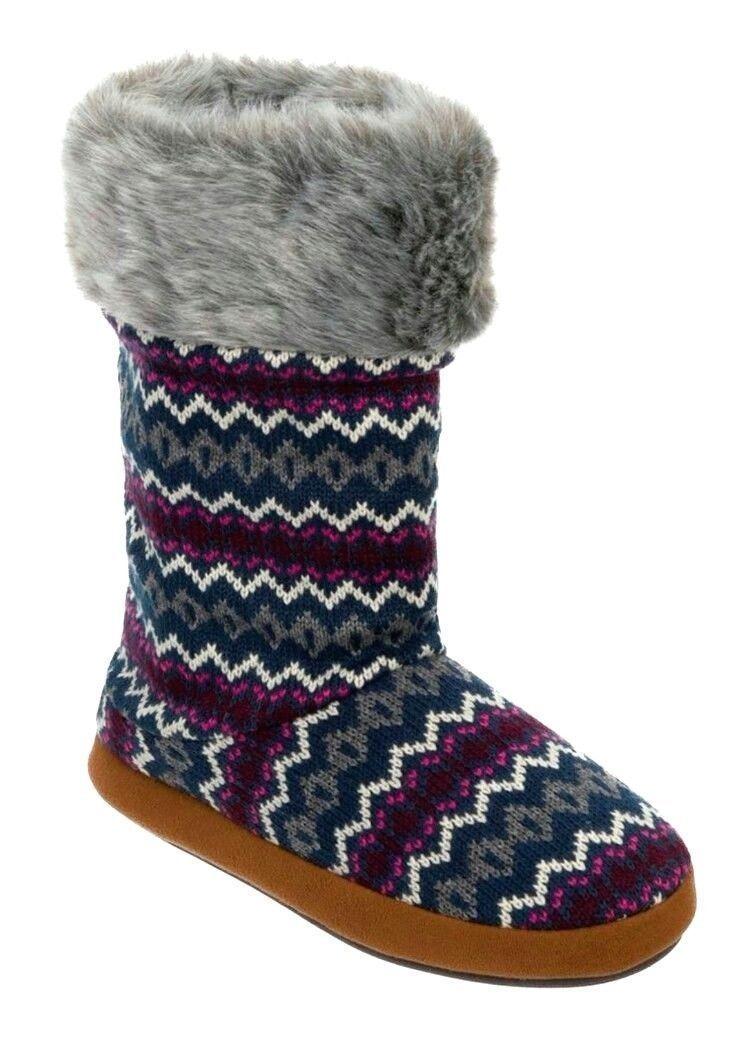 dluxe by dearfoams Cathy Sweater Knit Boots Slippers w Memory Foam Small 5 / 6
