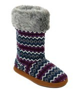 dluxe by dearfoams Cathy Sweater Knit Boots Slippers w Memory Foam Small... - $18.69