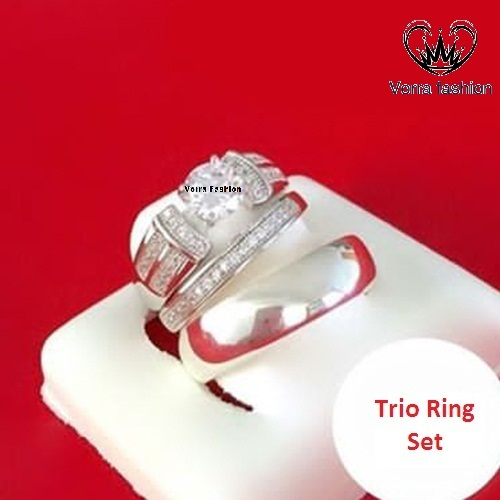 Men's Women's Trio Engagement Ring Set Diamond White Gold Plated Pure 925 Silver