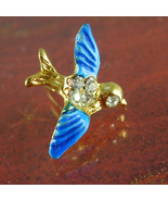 Blue Bird of Happiness Tie Tack Vintage love bird rhinestone Men's Tie A... - $70.00