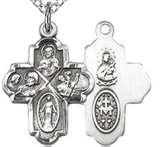 Four Way Silver Filled 4-Way Pendant on a 18 inch Light Rhodium Light Curb Chain image 2