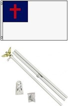 ALBATROS 3 ft x 5 ft Christian Flag with 6 Ft White Flagpole Flag Pole k... - $47.98