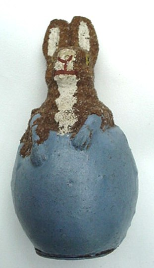 Antique German Papier Paper Mache Easter Bunny Rabbit In Egg Candy Container Old