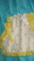 """Vintage """"Pert & Samy"""" Pinafore, White w/Yellow Trim & Attached Tie on Ea... - $10.50"""