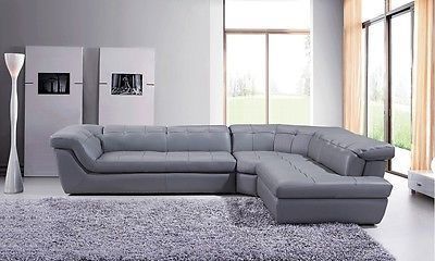 J&M 397 Full Top Grain Italian Leather Sectional Sofa Chic Modern Grey Right