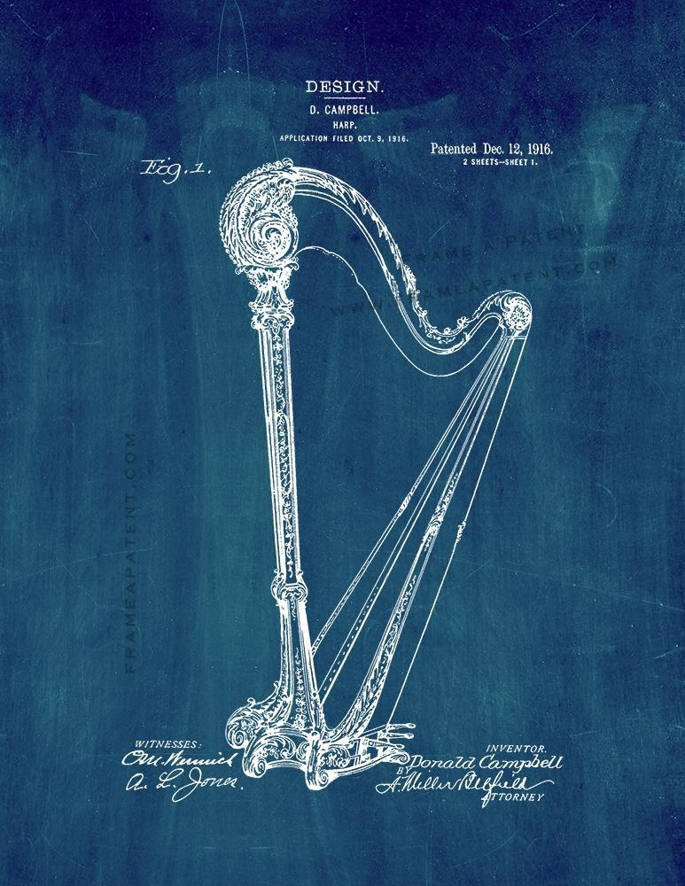 Primary image for Harp Patent Print - Midnight Blue