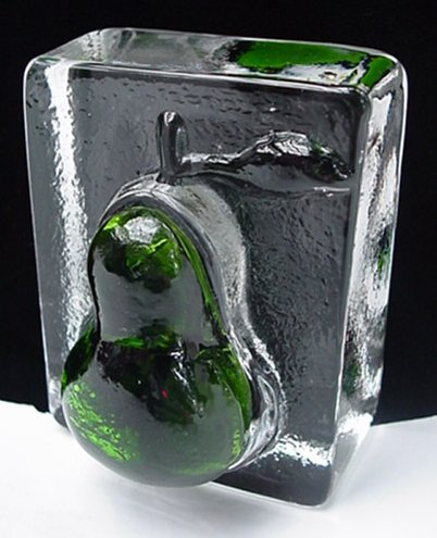 Vintage Eames Era Midcentury Ice 15 oz. Art Glass Paperweight w/ Green Pear NICE