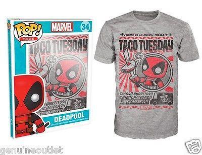 Funko Pop Tees Marvel Deadpool Chimichanga Taco Tuesday T-shirt 34 New for sale  USA