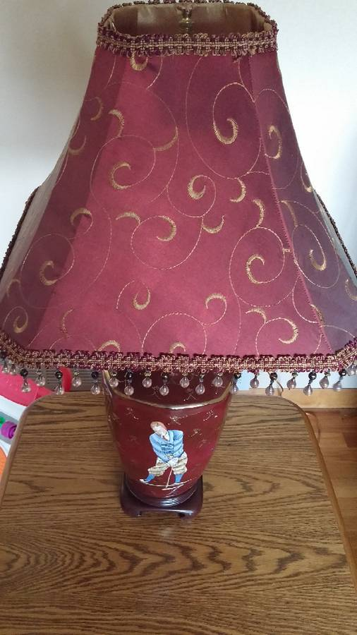 Golf Lamp for Living Room Light Hand Painted Maroon Gold Accents Golf Clubs