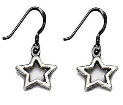NICE Wish upon a star charm dangle hook Earrings Authentic Sterling Silv... - $9.73