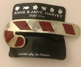 None & Jane Harvey Nickel Silver Candy Cane Hai... - $24.13