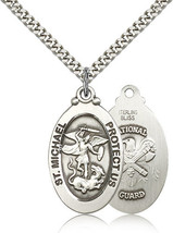 NATIONAL GUARD - Sterling Silver St. Michael Medal & Chain - 7076