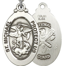 NATIONAL GUARD - Sterling Silver St. Michael Medal & Chain - 7076 image 2