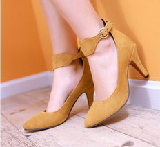 pp029 Elegant strappy ankle pumps, suede leather, 32-43, yellow - $48.80