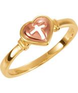 Heart & Cross Ring In 10K Yellow & Rose Gold - $207.89