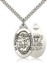 NAVY MEDAL - Sterling Silver St. Michael Medal & Chain - 4145