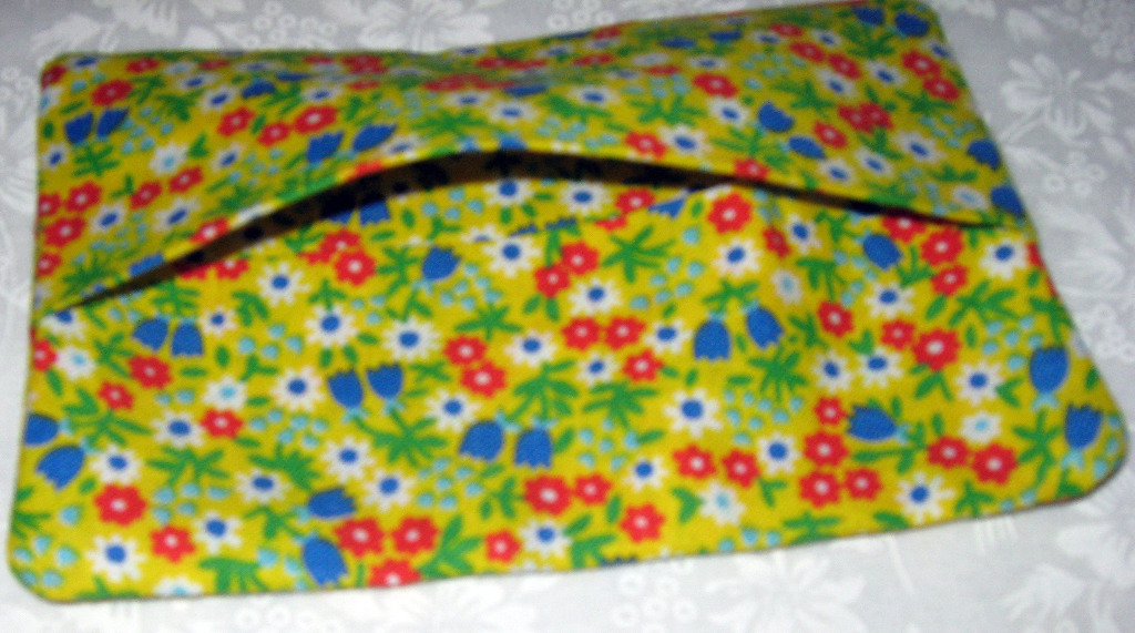 Purse Size Travel Tissue Holder Flowered yellow print