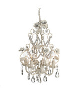 French Country Chic Shabby White Roses Iron Chandelier,12''d x 16.5''H. - $163.35