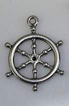 NICE sterling Silver nautical Captain pirate ship Sailor wheel pendant c... - $12.60