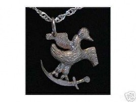NICE Silver PIRATE Parrot on Sword SHIP Pendant Jewelry - $16.98