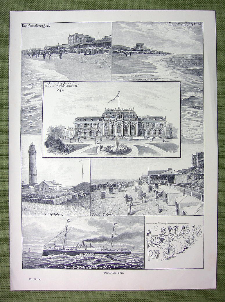 GERMANY Spa Resort Westerland Sylt Island - VICTORIAN Era Print