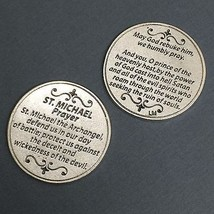 Saint St Michael Archangel Pocket Token Protector Protection Prayer Coin Medal - $6.95
