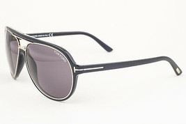 Tom Ford Sergio Shiny Black & Gold / Brown Sunglasses TF379 01A - $185.22