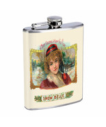 Vintage Cigar Box Poster D25 Flask 8oz Stainless Steel Hip Drinking Whiskey - $13.81