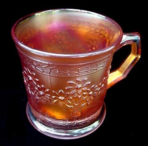 Antique Fenton Marigold Iridescent Carnival Glass Orange Tree Coffee Mug Cup Old