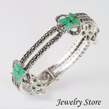 Sterling Silver Hinged Bangle Bracelet with Emeralds and Swiss Marcasite - $159.95