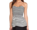 PARKER | MOLLY COMBO DRESS women's sz M $297 strapless silk - black / white EUC