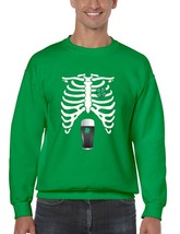 Men's Crewneck Sweatshirt Saint Patrick's Day Irish Skeleton Rib Cage Irish Shir - $22.00