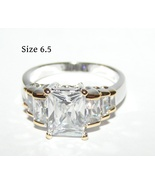 Emerald Cut White Sapphire Ring Free Shipping - $25.00