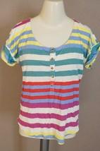 Splendid Tropical Stripe Short Sleeve Henley Tee STBA6788sz M t-shirt $... - $19.79