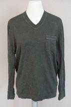 HUGO BOSS 'Davidson' V-Neck Pocket Sweater sz L men's OLIVE -holes $175 - $34.64