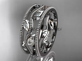 14k white gold diamond leaf and vine wedding band,engagement ring ADLR7B - $975.00
