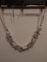 Fashion Jewelry-Glass Bead Necklace Pink with Cloth and Chain Clasp - $14.50