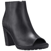 Timberland Women's Tillston Peep Toe Black Leather Ankle Boots A1OYR - $89.99